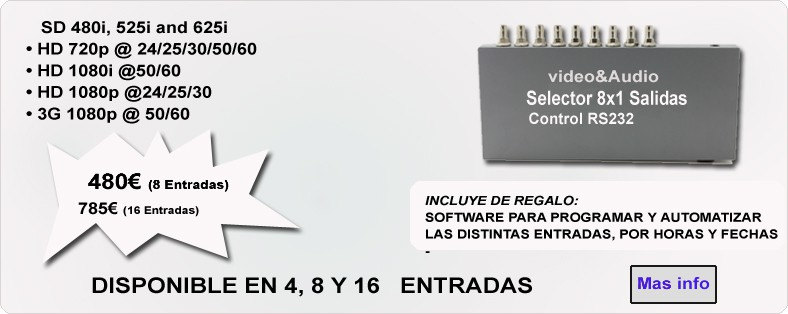 Selector 8x2 SDI hd Video y Audio profesional. control RS232
